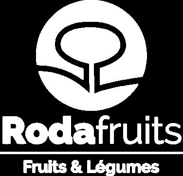 Logo blanc Rodafruits, le référent de la distribution de fruits et légumes en Normandie